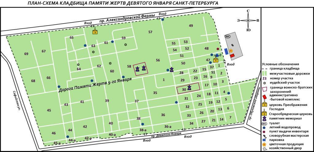 Схема захоронения на южном кладбище